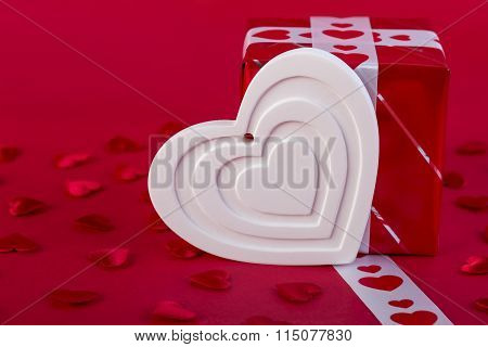 Red Holidays Gift And White Heart