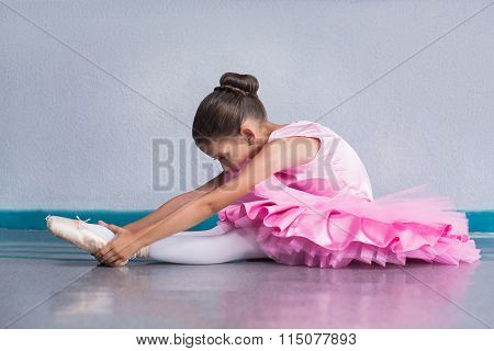 Young Ballerina In A Pink Ballet Tutu Training In Dance Class