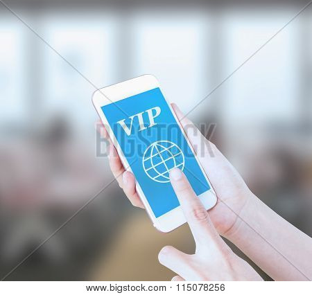 Mobile touch screen phone with text VIP on the screen