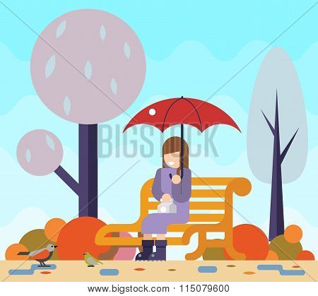Happy girl sit bench watch birds puddles umbrella autumn nature park concept flat design landscape b