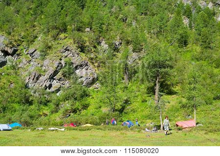 Tourist tents in camp in mountain