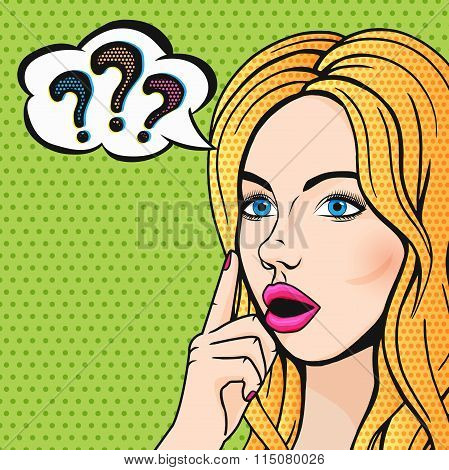 Vector Pop Art Stupid Woman Face With Question Marks. Blonde Thinking Woman With Open Mouth