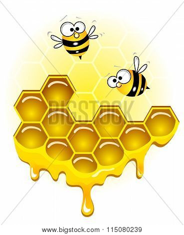 Bees and honey honeycombs