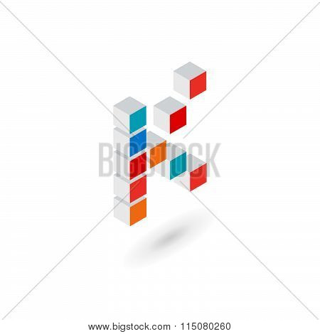 3D Cube Letter K Logo Icon Design Template Elements
