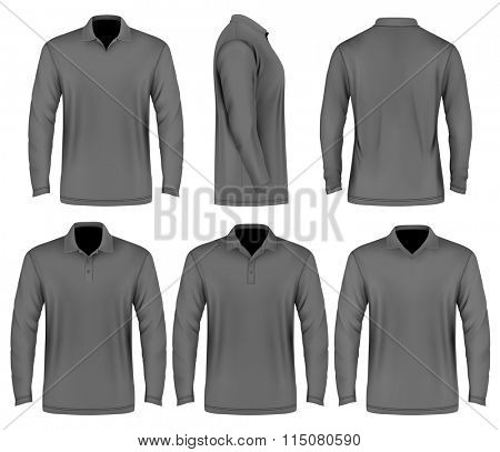 Men's slim-fitting polo shirt (front, back and side  views). Polo-collars variants. Vector illustration. Fully editable handmade mesh.
