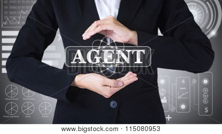 Business women holding posts in agent.
