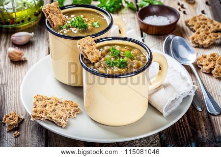 Homemade Lentil Soup With Crispbread And Parsley