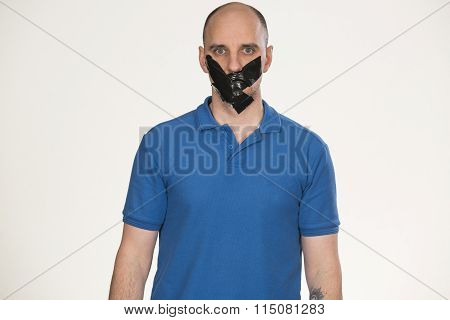 Gagged man unable to speak