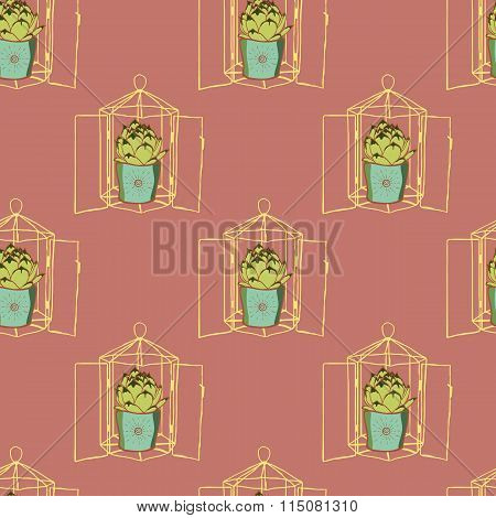 Vintage seamless pattern with hand drawn green cactus