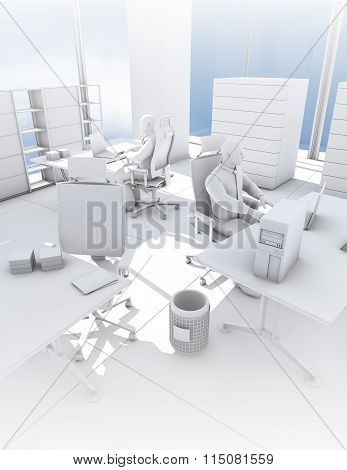 Clean Minimalist office concept