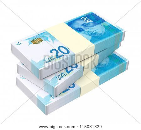 Israeli Shekel bills isolated on white background. Computer generated 3D photo rendering.