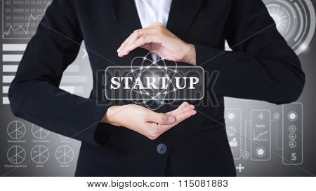 Business women holding posts in START UP.