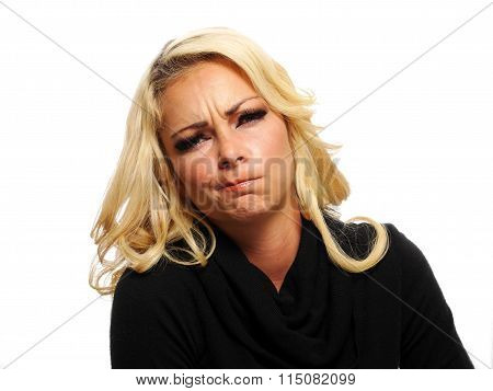 Blond Woman Making A Face