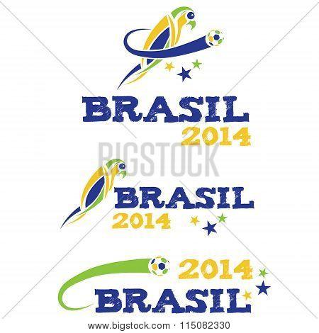 Vector Illustartion Brasil 2014 With Parrot