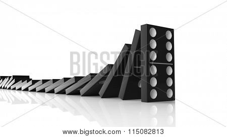 Black domino tiles falling in a row on to last one standing, isolated on white