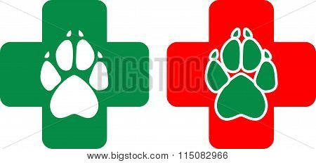 Logo For Veterinary Clinic In The Vector. White And Green Animal Paws Print On A Cross