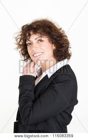 Portrait Of Thoughtful Business Woman Daydreaming. Isolated On White Background.
