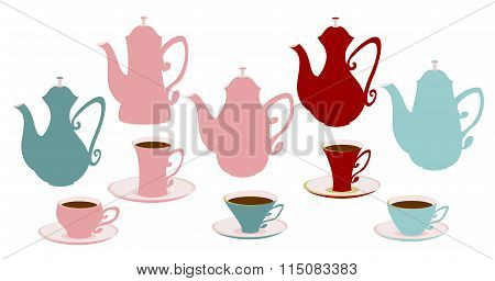 Set of icons of teapots, coffee pots and cups.
