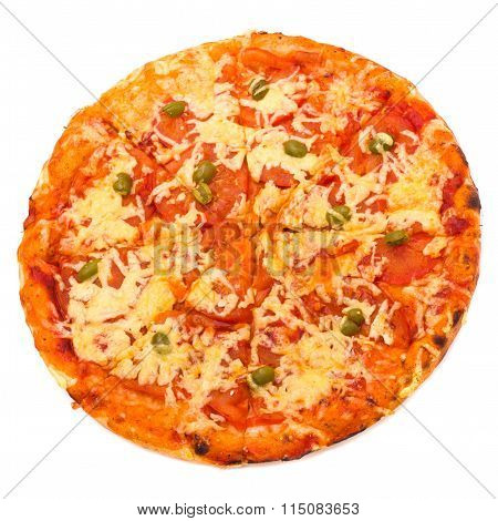Pizza Margherita isolated over white background.