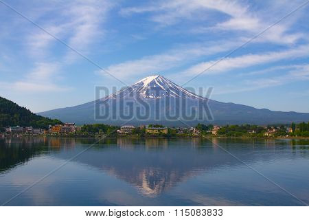Mount Fuji during winter seen from lake Fujikawaguchiko, Japan.