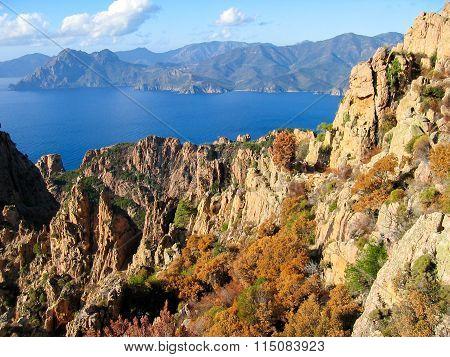 View Of Calanques De Piana. Corsica, France.