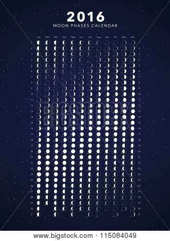 2016 moon phases calendar vector