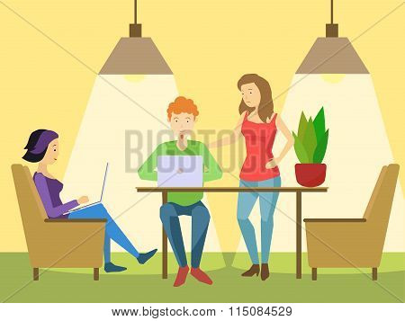 Coworking office flat style vector illustration