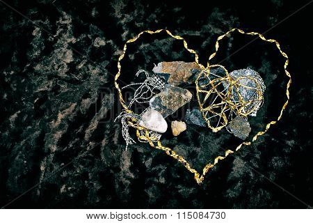 Metal grunge heart and stones #3