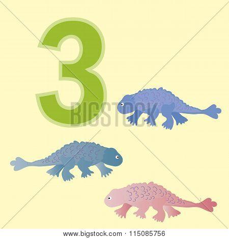 Number Three. Three Dinosaur (ankylosaur ).