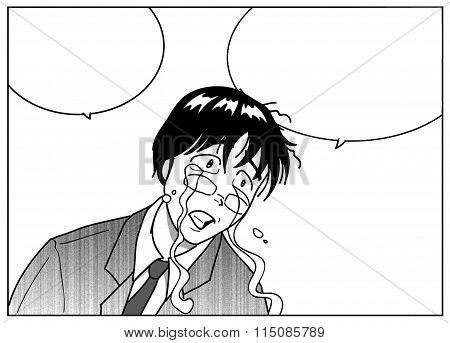 Man in tears illustration