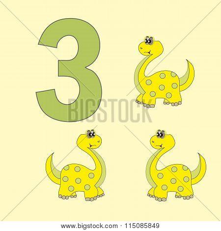 Number Three. Three Dinosaur (brachiosaurus ).