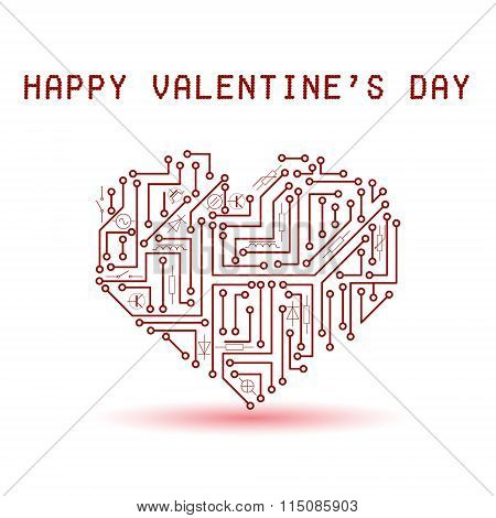 Printed Red Electrical Circuit Board Heart For Valentines Eps10