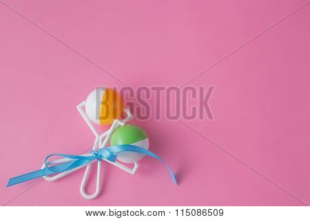 Baby Toys On Pink Background