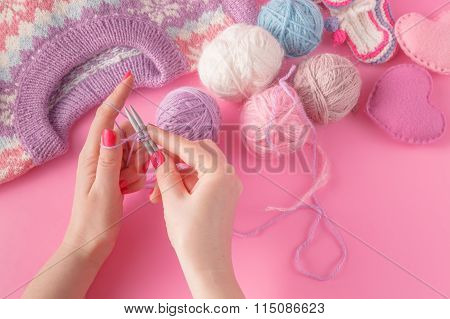 Woman's Hands With Yarn