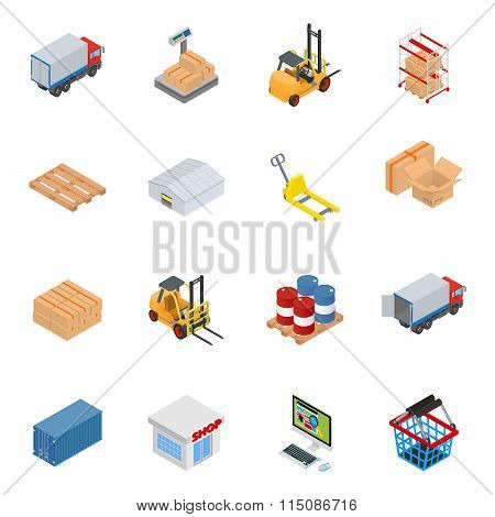 Vector isometric warehouse equipment icon set