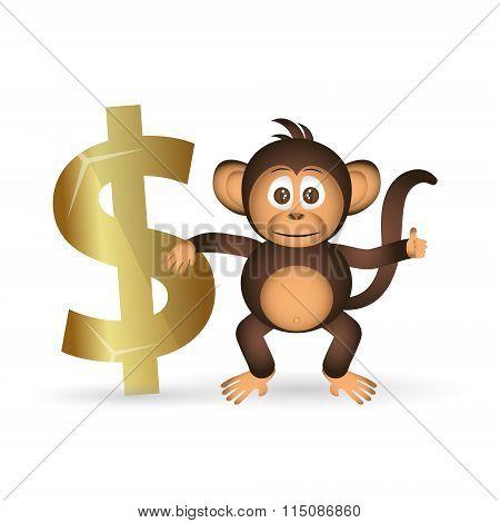 Cute Chimpanzee Little Monkey And Dollar Symbol Eps10