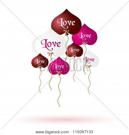 Color Helium Balloons Heart Shape With Love Message Eps10
