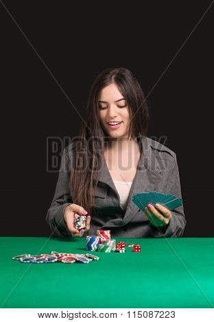 Pretty Lady Wining Blackjack Game At Casino