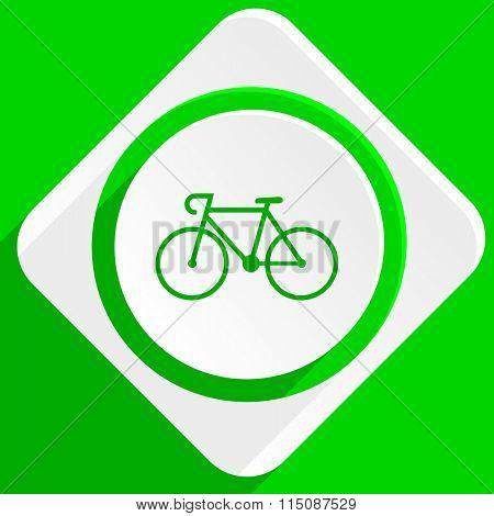 bicycle green flat icon