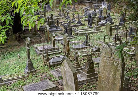Cemetery In Hong Kong, China