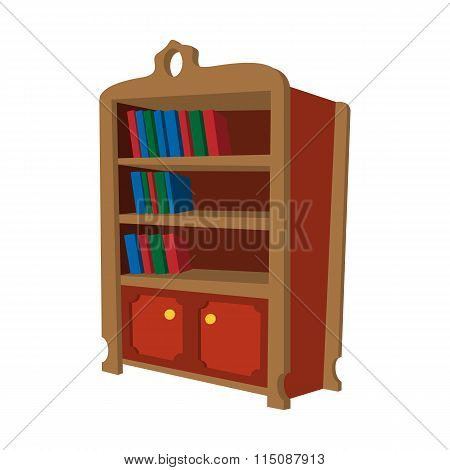 Wooden bookcase cartoon icon
