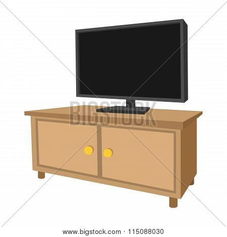 Wooden TV cabinet with a large TV cartoon icon