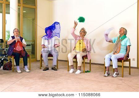 Senior Ladies Having Fun While Exercising