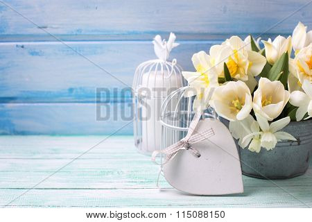 Brigh Daffodils And Tulips  Flowers In Bucket, Decorative Heart And Candle