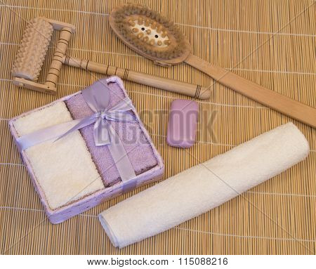 Bath Accessories, Lilac, Beige Towel On Bamboo Mat