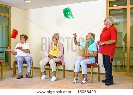 Happy Elderly Ladies In A Gym
