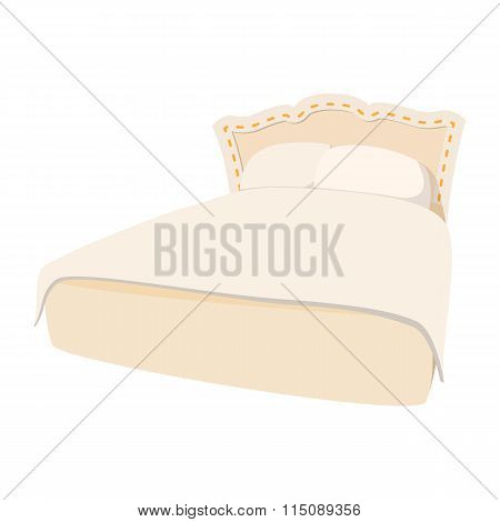 Luxury double bed cartoon icon
