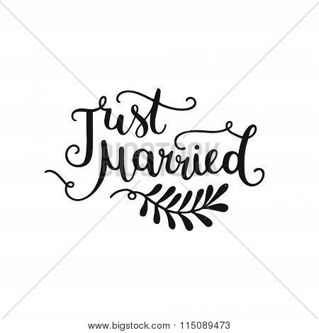 Just married, hand drawn lettering