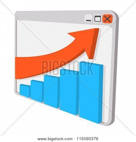 Graph on screen cartoon icon