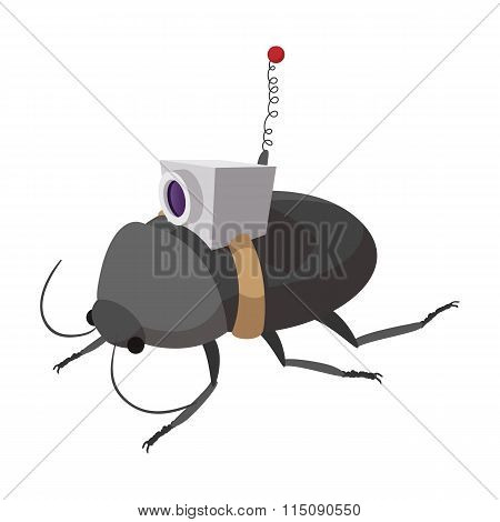 Video spy bug cartoon icon